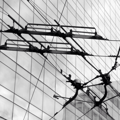 wires, electricity, black, white, line, windows Ahdrum