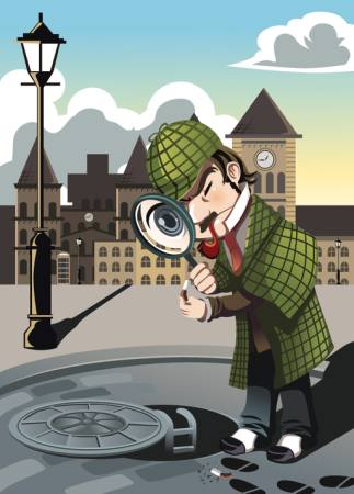 sherlock, sewer, city, detective, man, magnifying glass Artisticco Llc - Dreamstime