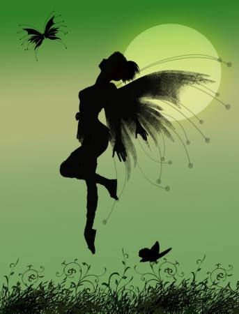 fairy, green, moon, fly, wings, butterfly Franciscah - Dreamstime