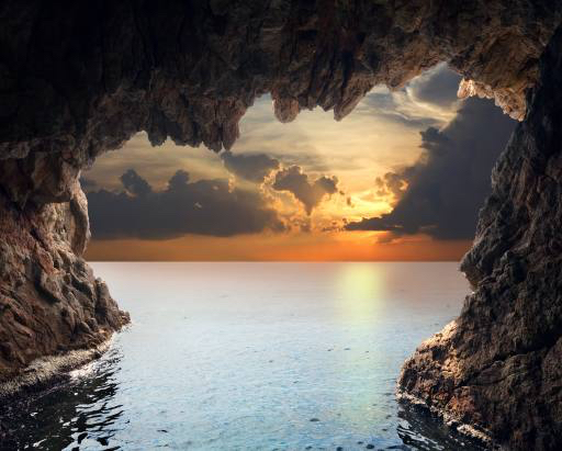 nature, landscape, water, cave, sunset Iakov Filimonov (Jackf)