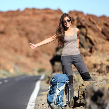 woman, smile, hitch, girl, road Martinmark - Dreamstime