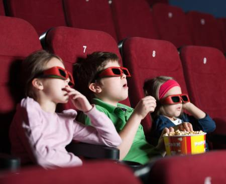 kids, watch, film, popcorn, seats, red Agencyby - Dreamstime