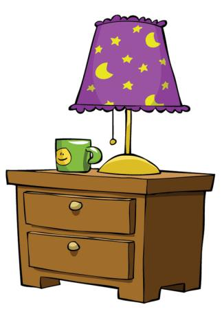 lamp, stand, cup, drawer, moon, stars Dedmazay - Dreamstime