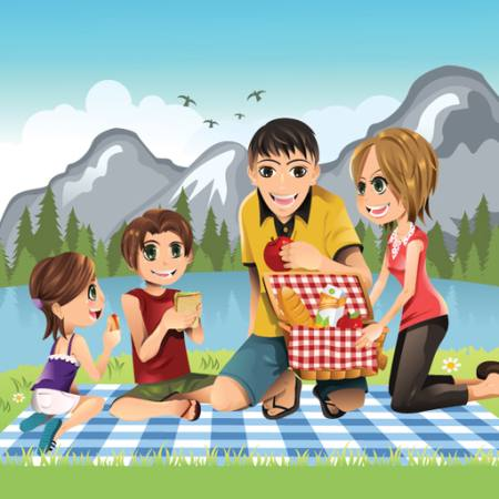 mountain, out door, kids, family, basket, eat Artisticco Llc - Dreamstime