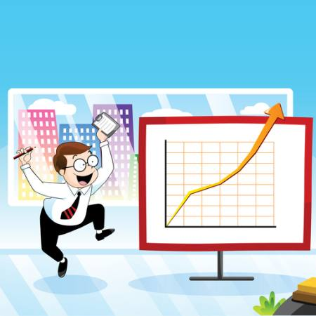 chart, man, happy, arrow, building, office Zuura - Dreamstime