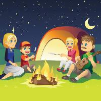 Pixwords The image with kids, sing, guitar, fire, moon, sky, tent, woman Artisticco Llc - Dreamstime