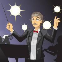 Pixwords The image with sing, orchestra, man, lights, music Artisticco Llc - Dreamstime