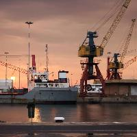 Pixwords The image with crane, cranes, water, ships, dock Scionxy