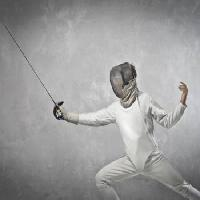 Pixwords The image with sword, man, sport, white, mask Bowie15 - Dreamstime