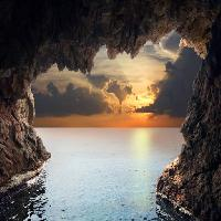 Pixwords The image with nature, landscape, water, cave, sunset Iakov Filimonov (Jackf)