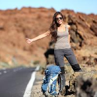 Pixwords The image with woman, smile, hitch, girl, road Martinmark - Dreamstime