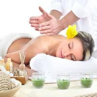 Pixwords The image with woman, therapy, massage, yellow, flower Kurhan - Dreamstime