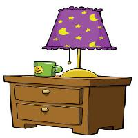 Pixwords The image with lamp, stand, cup, drawer, moon, stars Dedmazay - Dreamstime