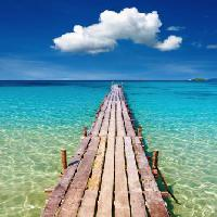 Pixwords The image with sea, water, walk, wood, deck, ocean, blue, sky, cloud Dmitry Pichugin - Dreamstime