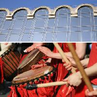 Pixwords The image with building, glass, windows, drums, sticks, hands Thomas Langlands - Dreamstime