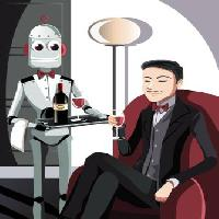 Pixwords The image with robot, man, wine, glass Artisticco Llc - Dreamstime